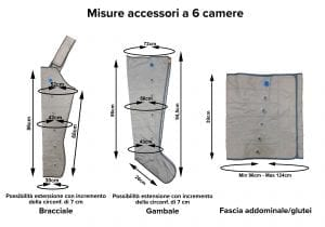 Accessori a 6 camere: gambali, bracciale e fascia addominale.